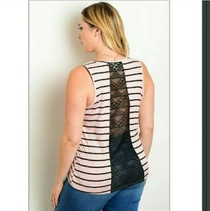 Tops - Plus Pink and Black Striped Tank Top